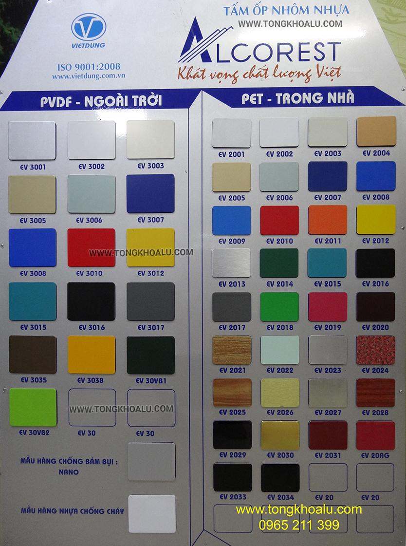 bảng màu alu alcorest